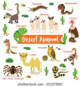 Desert creature cartoon on white background with animal name.