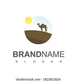 Desert, Dune Logo Design With Camel Symbol