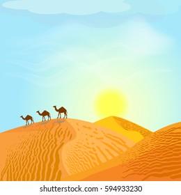 Desert with dunes and camels. Sunset in blue sky. Desert landscape. Vector illustration