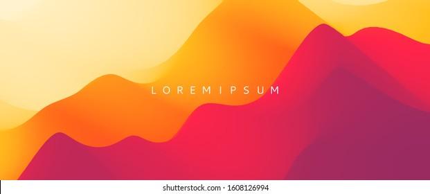Desert dunes sunset landscape. Mountain landscape with a dawn. Mountainous terrain. Hills silhouette. Abstract background. Vector illustration.