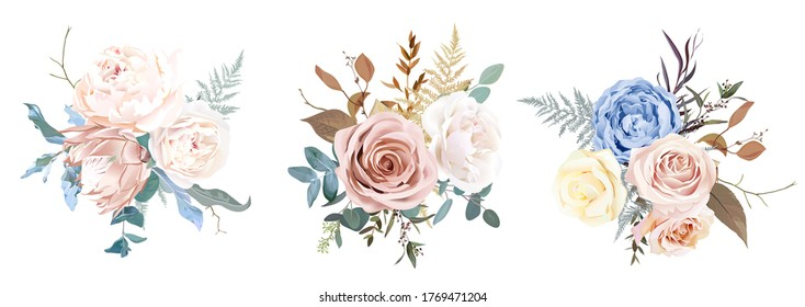 Desert dusty brown and yellow rose, beige peony, pastel pink protea, blue ranunculus, fern, dry plants, eucalyptus vector design bouquets. Elegant wedding bunches of flowers. Isolated and editable.