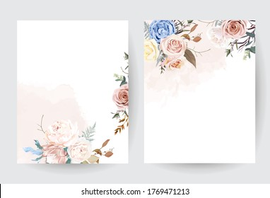 Desert dusty brown and yellow rose, beige peony, pastel pink protea, blue ranunculus, fern, dry plants, eucalyptus vector design frames. Elegant wedding flower and watercolor. Isolated and editable.