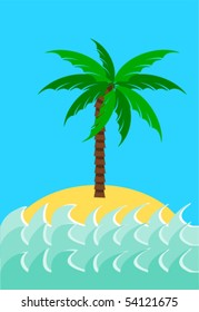 Desert island with palm tree vector illustration