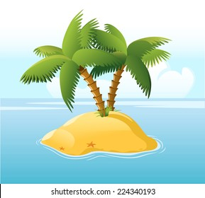 Desert Island With Palm Trees Surrounded by Blue Sea and Star fish, with star shape vector illustration cartoon.