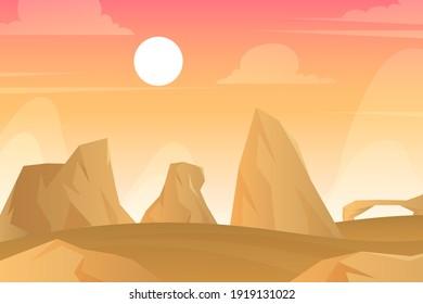 Desert landscape. Desert area, sand terrain - Africa, Sahara, or Arizona nature.  Wilderness background. Safari. Wild West. Vector illustration.