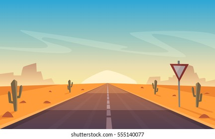 Desert landscape with asphalt road, cartoon vector illustration.