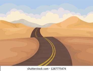 Desert landscape with asphalt road. Valley with sand hills and blue sky. Outdoor scenery. Flat vector design