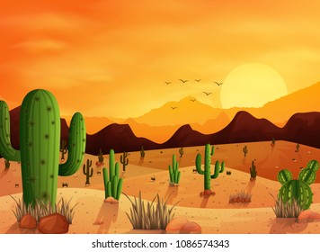 Desert landscape background with cactuses