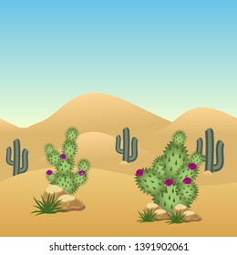 Desert landscape background. Cactuses and sand dunes, parallax ready layers. For cartoon or game background. Vector illustration, horizontally seamless
