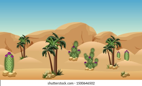 Desert landscape background for cartoon or adventure game asset or scene design. Sand dunes, palms, cactuses with flowers, rocks and mountains. Horizontally seamless. Vector illustration