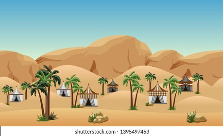 Desert landscape background with nomad camp. Scene for cartoon, game asset or wallpapers. Parallax ready with some layers. Sand dunes, mountains and rocks, palms, nomad tents. Vector illustration.