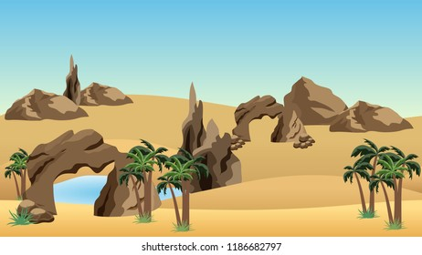 Desert landscape background with oasis. Sand dunes, lake and palms in oasis, rocks.  Cartoon or adventure game asset background. Vector illustration