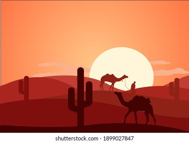 Desert Landscape with Cactus, Hills and Mountains Silhouettes. Vector Nature Horizontal Background