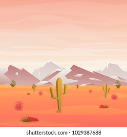 Desert landscape with cactus and mountain on sunny day. Vector illustration