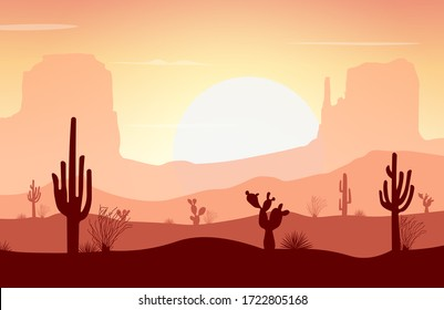 Desert landscape with cactus, mountain, and sunset. Vector illustration background for poster, banner, web, social media, card, cover, ui.