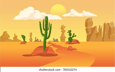 Desert landscape with cactus silhouette in vector graphic.