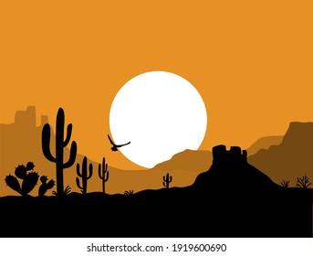 Desert landscape with Cactuses. Arizona desert mountains silhouette Vector nature horizontal background