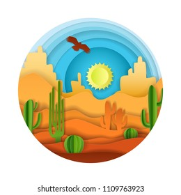 Desert landscape with cactuses, flying eagle and sun shining in sky. Vector illustration in paper art style.
