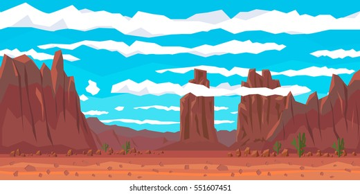 Desert landscape with cactuses and mountains. Flat style. Vector nature landscape background with separated layers for game art and animation game