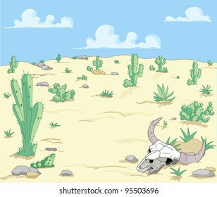 A Desert  Landscape with cactuses  and scull