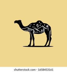 desert landscape and camel logo vector hand drawn