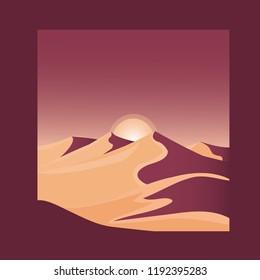 Desert landscape concept logo web design. Beautiful geometric illustration. Realistic vector illustration view of nature landscape with desert, sun, sand and horizon. Silhouette landscape.