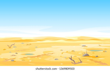 Desert landscape with dead trees and shrubs at the bottom of the dry river, arid deserted place without water and without plants, sand dunes to the horizon