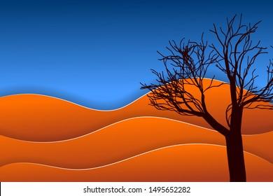 Desert landscape. Dry tree among orange dunes. Vector EPS10