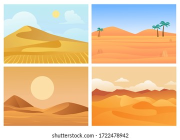 Desert landscape. Hot sunrise and sunset, palm trees in sand, dry blue sky, sandy quarries of Sahara desert, beautiful red-orange color of horizontal landscape. Vector illustration in flat style.