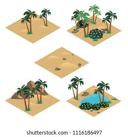 Desert landscape isometric tile set. Cartoon or game asset to create desert scene or background with sand dunes, oasis in desert, palms, rocks and stones. Isolated isometric tiles, vector illustration