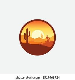 Desert landscape logo with cactus, mountain desert vector template, company logo, logo product label