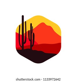 Desert landscape logo circle with cactus, dune and mountain vector template. Suit for promotional material, company logo, product label, etc