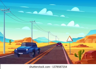 Desert landscape with long highway and cars ride along asphalt road with sign and wires. Roadway with skyline, rocky barren wasteland and cactus. Travel concept background. Cartoon vector illustration