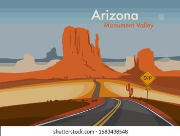 Desert landscape. Monument Valley, Arizona, United States. Vector illustration