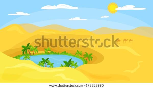 oasis paisajístico del desierto. Ilustración del vector