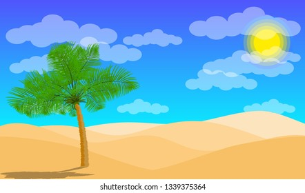 Desert landscape with palm and sand desert. Vector EPS10. Paper layers as desert design