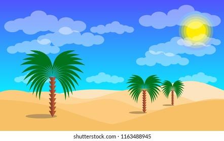 Desert landscape with palms and sand desert. Vector EPS10