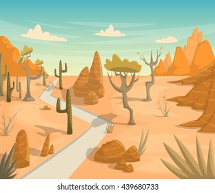 Desert landscape with road, cactuses, mountains and trees. Vector illustration in cartoon style