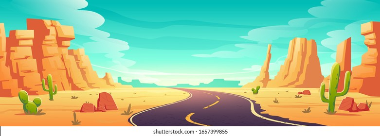Desert landscape with road, rocks and cactuses. Vector cartoon illustration of highway turn in Arizona or Mexico hot sand desert with orange mountains. Summer western american landscape