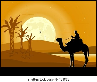 Desert landscape. Sand dunes, camel rider, palm trees and moon rise