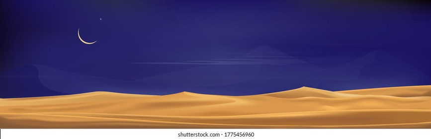 Desert landscape with sand dunes with crescent moon and star at dark night for banner or background in ramadon, vector illusion Minimalist panoramic realistic cartoon of nature, sand with the moon.