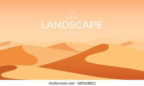 Desert landscape. Sand dunes. Nature background. Vector illustration