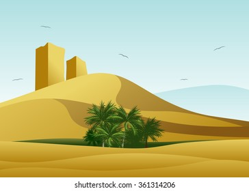 A desert landscape, sandy dunes, ruins of the city and a green oasis with palm trees