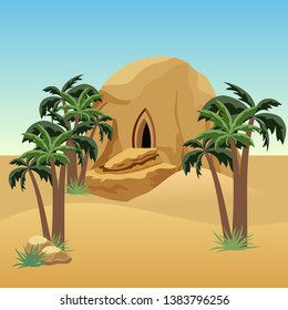 Desert landscape scene for cartoon or game asset background. Desert, sand dunes, palms, house in rock cave. Vector illustration