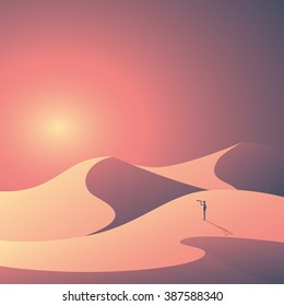 Desert landscape vector background. Natural sand dunes in sunset wallpaper with explorer. Eps10 vector illustration.