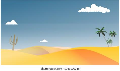 Desert landscape. Vector illustration.