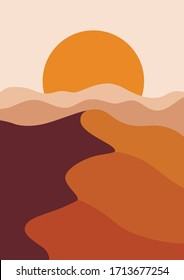 Desert landscape in a vertical format, warm beige colors. Vector illustration with sunset in mountains. Abstract landscape poster.