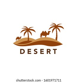 Desert logo design template with sunset and a silhouette of a camel. illustration