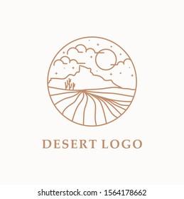 Desert logo template. beautiful sand dunes logo in the Sahara desert.