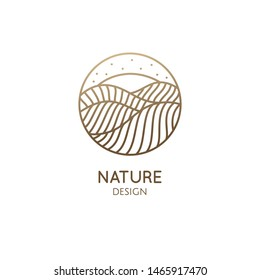 Desert logo template. Vector round icon of water or desert landscape with barkhans, sun. Abstract ornamental emblem for business emblem, badge for travel, tourism and ecology concepts, health, yoga